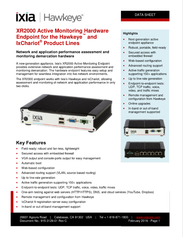 Data Sheet: XR2000 Active Monitoring Hardware Endpoint For