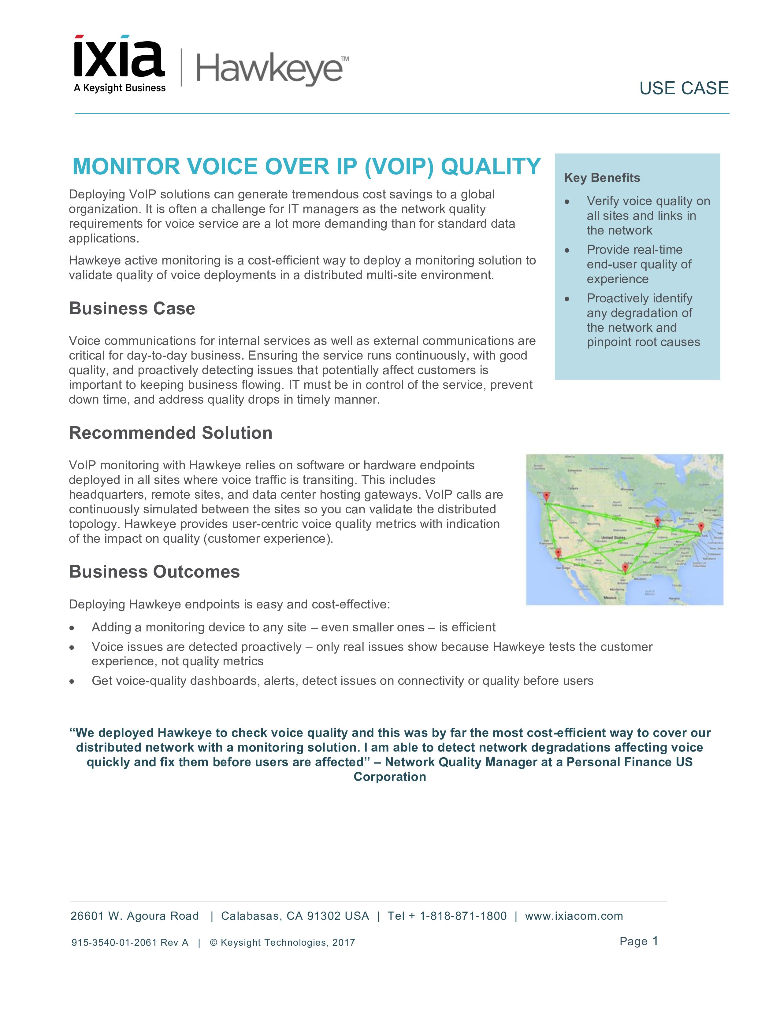 Hawkeye - Monitor Voice over IP (VoIP) Quality - Redwood